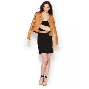 TRACY REESE Leather Combo Pencil Zipper Skirt