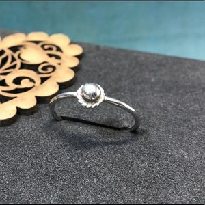 "Sterling silver ring, w/sterling silver ""cabochon"""