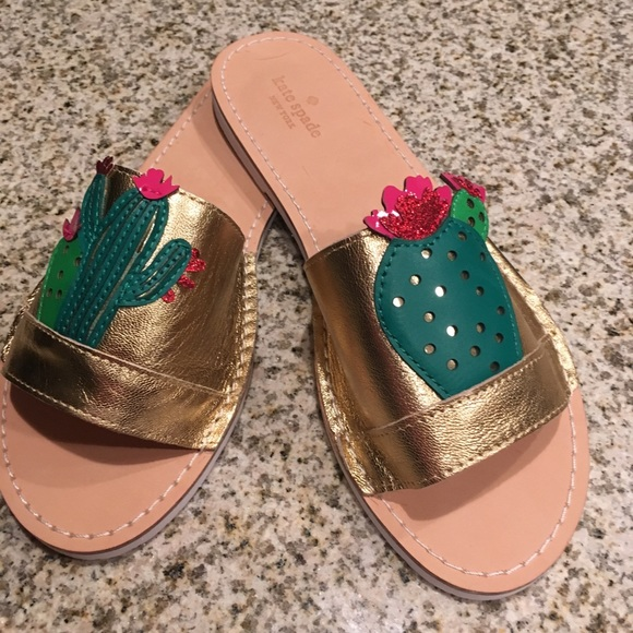 4c7ec94bf15a kate spade Shoes - Kate Spade Iguana Gold Metallic Cactus Slides New