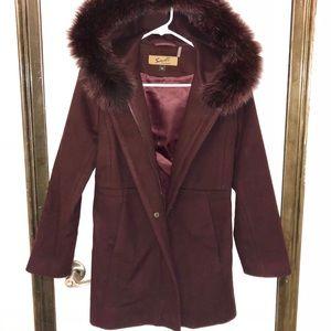 Fox fur wool coat
