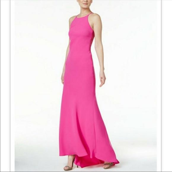 Calvin Klein Dresses | Fuchsiapink Halter Long Dress By | Poshmark