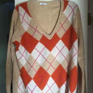 Sweater top Gap argyle lg mult pre own lambs wool