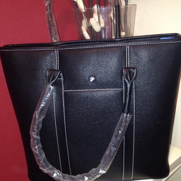 b5ac6a1aaa1d BMW Black Leather Tote Bag