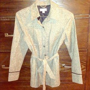 Tweed Blazer Shirt with Leather Trim