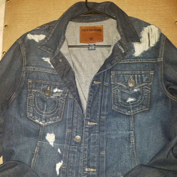 Men's True Religion Distressed Jean Jacket