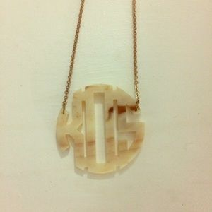 Jewelry - Monogram Fake Marble Necklace with Gold Chain
