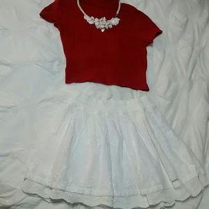 Red crop & skirt set
