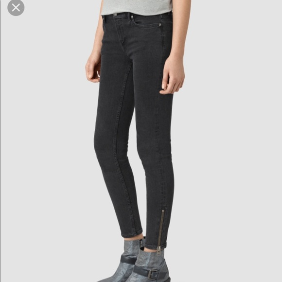 New All Saints Mast Ankle Zip washed black size24 c11a5a44b