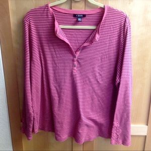 Chaps Pink Striped Long Sleeve