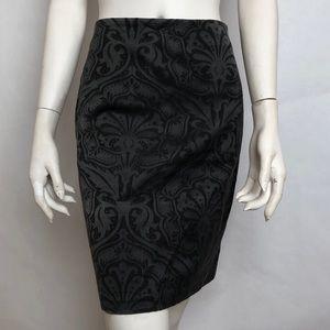 ALL SAINTS Black Gray Damask Skirt Sz 6 Zipper