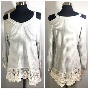 Gray Ribbed Crochet Sweater