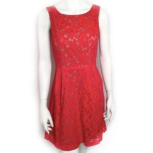 Ava & Aiden Lace Swing Party Dress Sz 4 Orange Red