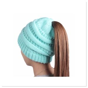 Winter Knit Ponytail Beanie