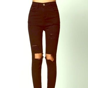 New Super High Waisted Distressed Black Jeans