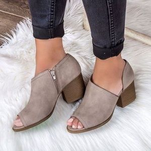 Shoes - Taupe peep toe cut out bootie