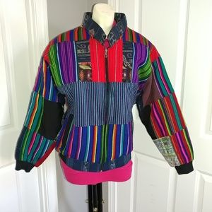 Patchwork Ethnic Boho Vintage Bomber Jacket