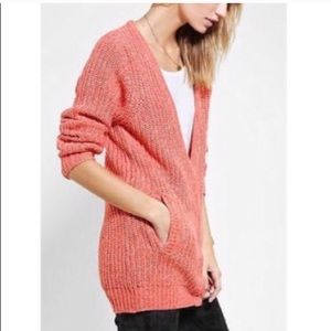 UO Sparkle And Fade Coral Knit Cardigan