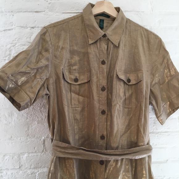 62d2e243026 Lauren Ralph Lauren Dresses   Skirts - Ralph Lauren Gold Linen Shirt Dress  sz 14