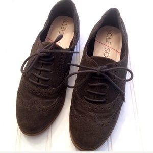 Sole Society genuine suede lace-up Oxfords