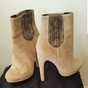 Suede/Snakeskin booties