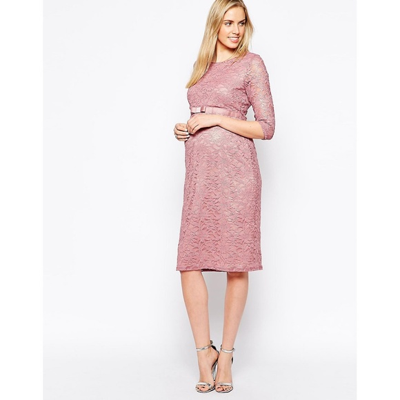 89343244707b8 ASOS Maternity Dresses & Skirts - ASOS Maternity Pink Lace Dress with  Ribbon Detail