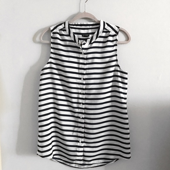 a182c2daec56fe J. Crew Factory Tops - J.Crew Black   White Striped Sleeveless Top