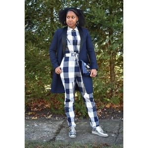 Equipment checkered long sleeve jumpsuit