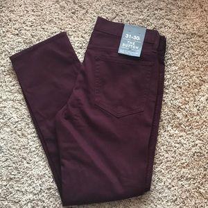 NWT J. Crew Sutton corded burgundy pants