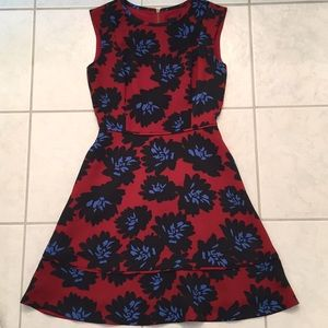 Jcrew red, blue, and black flora dress