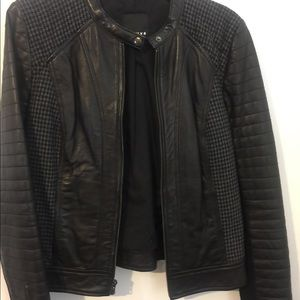 Wool with leather jacket