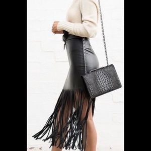 f7257287bde Dresses   Skirts - Faux Leather Fringed Skirt