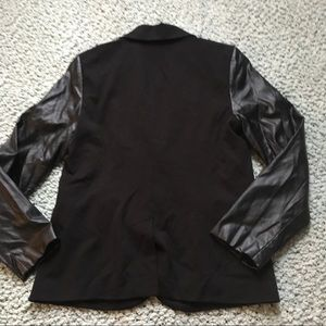 Chico's Jackets & Coats - Chico's leather sleeve blazer size 0/XS/4