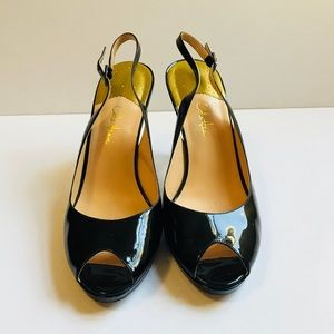 Cole Haan Nike Air Black Patent Sling Back Pumps