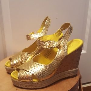 Apepazza Gold wedge sandal