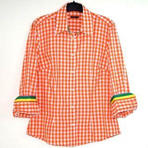 J McLaughlin Shirt Cotton Gingham Check Orange 8