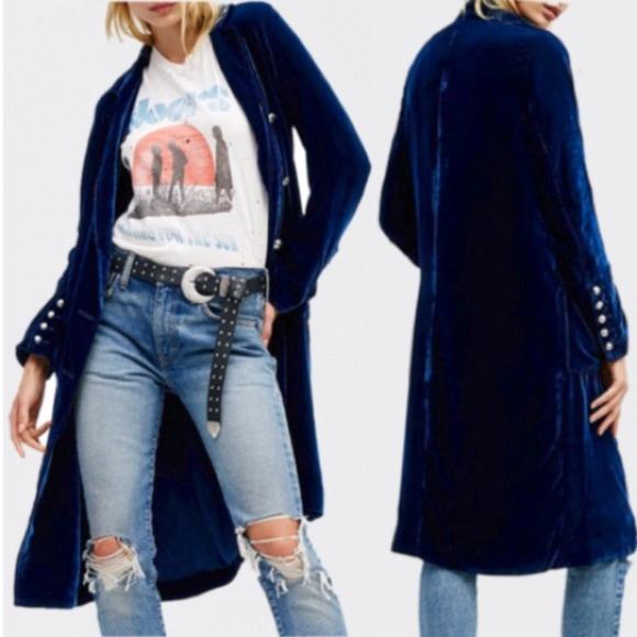 austin gal Jackets & Blazers - Blue Velvet Duster Trench COAT NEW