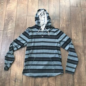 On The Byas Blue Striped Hooded Shirt