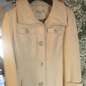 Kenneth Cole size 4 Wool Coat Cream / Camel Int