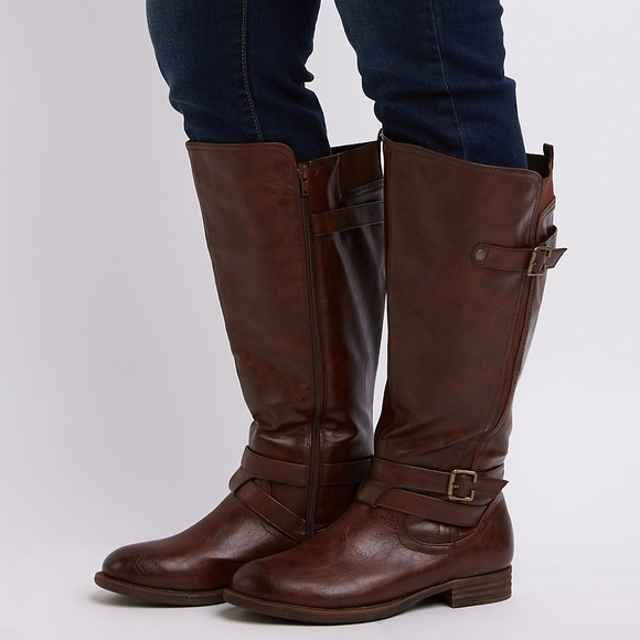 b66e11c22154 Charlotte Russe Shoes - Wide Width Knee-High Moto Boots 10W