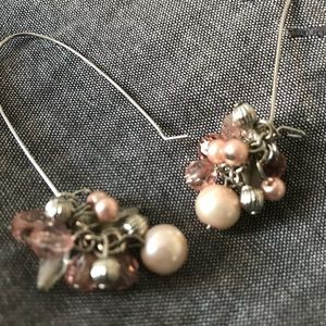 pink and silver beaded dangly earrings 🌸