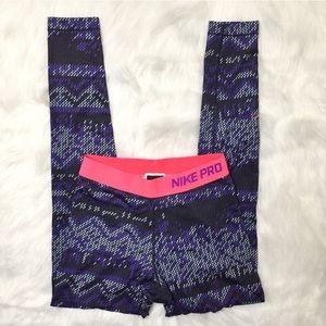 [Nike Pro] Dri Fit purple/black/pink leggings