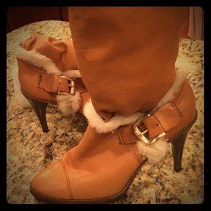 Michael Kors Leather Knee Boots faux fur trim