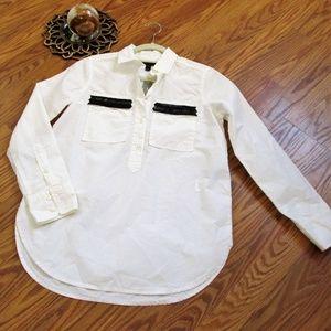 J. Crew White Black Trim Henley Style Tunic