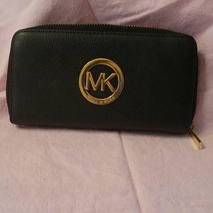 Handbags - Black Ziparound Wallet Gold Tone Hardware
