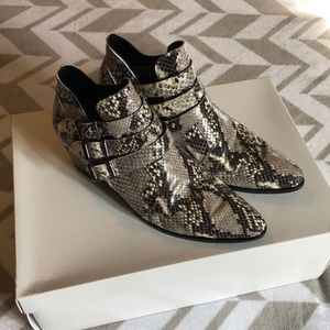 Snake print leather buckle booties