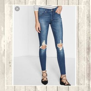 Express Distressed Knee Stretch Ankle Jeans