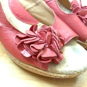 dark pink born leather espadrilles