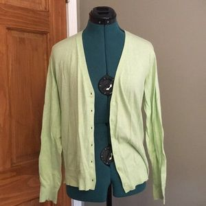 Uniqlo Light green linen cardigan.