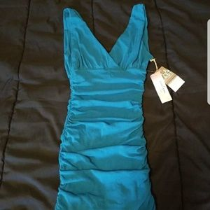 Sweet Pea Blue mini Ruched Dress