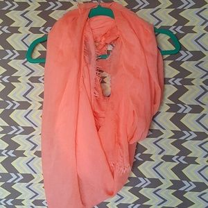 Accessories - Neon Coral Oversized Blanket Scarf